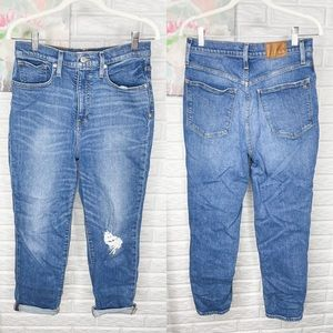 Madewell The Mom Jean Cropped Straight Leg 28
